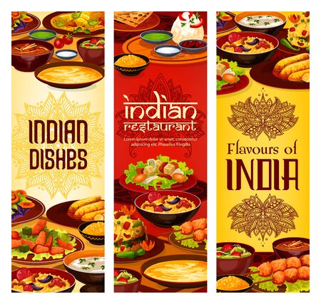 Indian restaurant menu covers, traditional India cuisine food dishes. Vector Indian meal vegetarian vegetables with curry rice, meat and fish skewers and tandoori, shorba soup and desserts