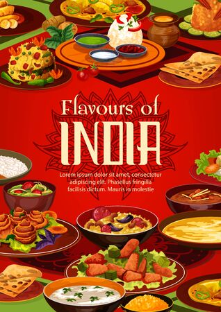Indian food cuisine, restaurant menu and India authentic dish cooking recipe book cover. Vector Indian traditional meals, curry vegetables in masala spices, rice and meat, soups, desserts and salads Banque d'images - 137824873