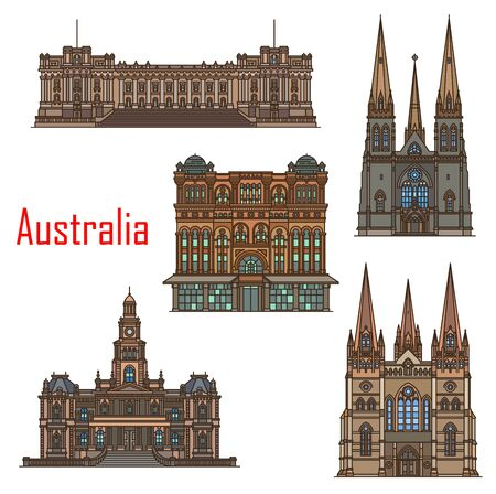 Australia architecture, cathedral buildings and Sydney famous landmarks. Vector St Patrick and Paul cathedral, Sydney town hall, Queen Victoria building and Melbourne parliament 일러스트