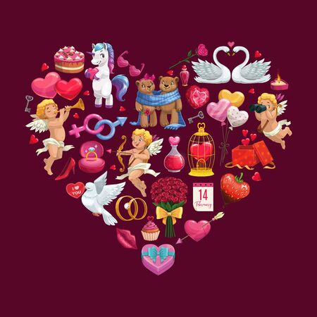 Heart of Valentines Day gifts, romantic couples and chocolate, Cupids, love envelope and bouquet, rings, holiday calendar and rose flowers, candy and red ribbons. Vector greeting card Çizim