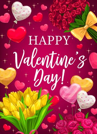 Happy Valentine day, love holiday heart balloons and flowers. Valentines day love wish, roses and tulip flowers bouquets with sparkling stars on pink background Ilustração