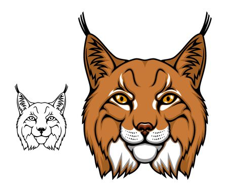 Lynx animal head vector cartoon mascot, wild bobcat. Wildcat lynx icon, hunting sport club or football team symbol design. Brown face of predatory mammal with black spots and stripes Illustration