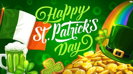 Happy Patricks day fest symbols. Vector Irish flag, mug of ale beer, leprechaun hat with plaque on piles of gold. Rainbow and golden coins, gingerbread cookies on blurred green Archivio Fotografico - 138161404