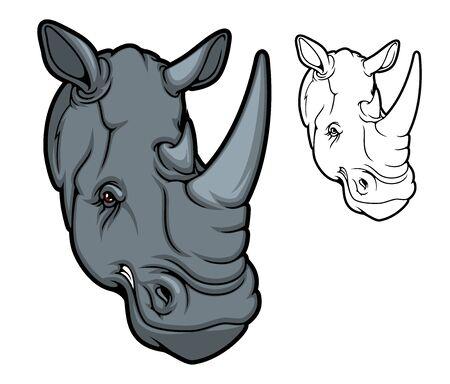 Nashorntierkopfmaskottchen, zwei gehörnte schwarze Nashörner der Karikatur. Wütendes afrikanisches Savannensäugetier mit roten Augen, isoliertes Nashorn für Safari-Tour, Jagdsportclub oder Zoo-Design
