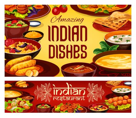 Indian cuisine restaurant menu, traditional India gourmet food dishes. Vector Indian authentic breakfast and dinner meals of with vegetables and curry rice, meat and fish with curry rice