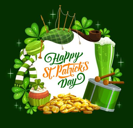 Irish St Patrick day holiday celebration shamrock clover and green ale beer mugs, pints. Vector Patricks day greeting with symbols Irish bagpipes, leprechaun gold coins and drum