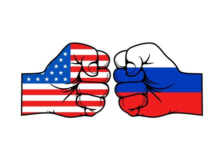 USA and Russia conflict vector concept, two fists in colors of American and Russian Federation flags. Political, economic and military confrontation of two countries, America vs Russia themes Çizim