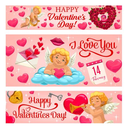 Valentine day vector banners with hearts, diamond ring in pink gift box and roses flowers. Happy Valentine Day, 14 February love holiday calendar, Cupid angel with kiss lips, harp, key and lock