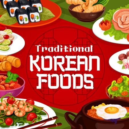 Korean food, cuisine restaurant traditional menu dishes. Vector Korean kimchi soup bowl, rice and meat, spicy ramen noodles and bibimbap pot, vegetable salads and kimbap rolls  イラスト・ベクター素材