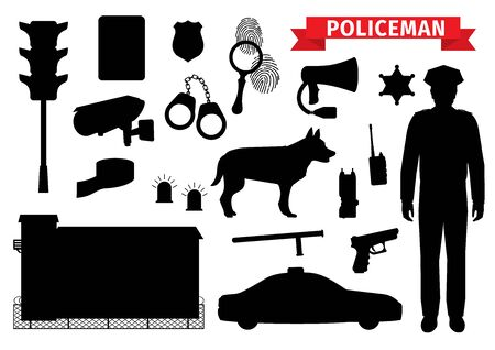 Policeman equipment tools, silhouette icons. Vector isolated police officer gun and sheriff star badge, handcuffs and car alarm siren, traffic lights and CCTV camera, police dig and prison jail