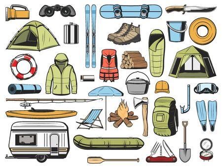 Travel, fishing and camping equipment isolated icons. Vector hiking snowboard and skis, travel trailer and tent, inflatable boat and rubber boats, ackpack, fishery gear, campfire and sleeping bag, van