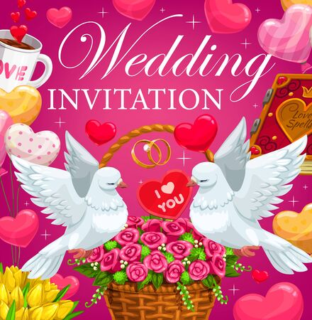 Wedding rings, hearts and flowers vector invitation. Cartoon bride and groom gifts, bouquets and balloons, couple of white dove birds, rose and tulip floral baskets with ribbons and sparkles