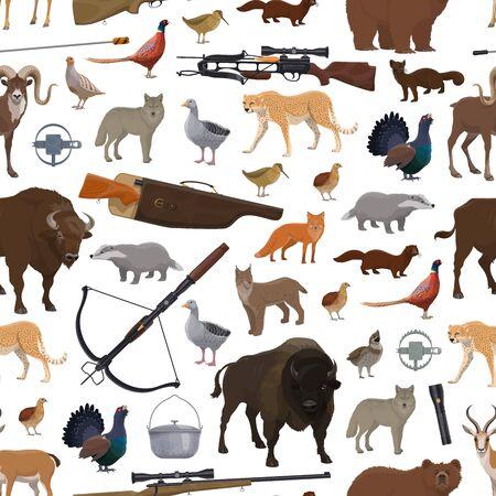 Oiseaux, animaux et modèle sans couture d'équipement de sport de chasse. Arme de tir vectoriel, arbalète et pistolet, piège et fusil. Buffle et loup, canard et lynx, guépard et ours, antilope et chèvre Vecteurs