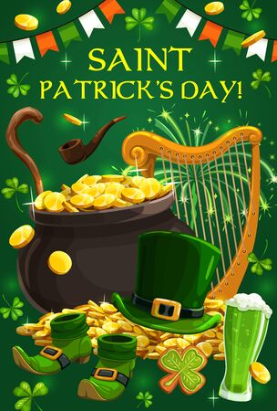 St Patrick shillelagh, green shamrock and beer vector greeting card. Leprechaun hat, pot of gold and shoes, golden coins and smoking pipe, harp, bunting garland and firework. Irish holiday design Archivio Fotografico - 138161371