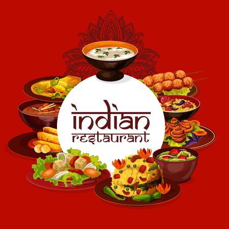 Indian cuisine restaurant menu, authentic dishes cooking recipe book. Vector pulao and bananas in butter, murgs badams and shorba soup, lemon with cashew and rice in mint sauce meals