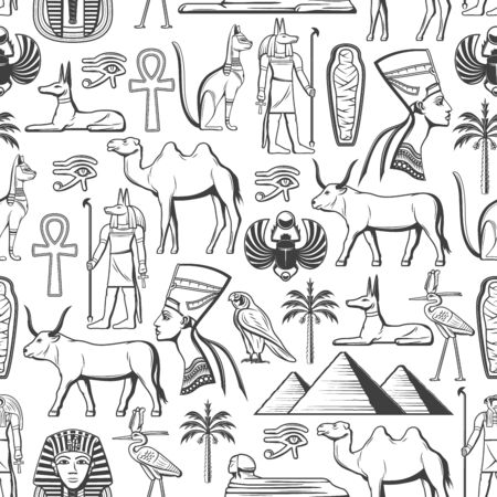 Ancient Egypt monochrome seamless pattern. Vector Egyptian culture, travel, history and religion signs, gods and deities. Nefertiti and Ra, mummy and Sphinx, pharaoh, Anubis and pyramids, Horus eye