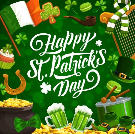 Patricks day vector shamrock leaves, leprechaun hat and gold pot. Irish holiday green beer, clover, golden coins and horseshoe, flag of Ireland and drum with greeting wishes Archivio Fotografico - 138160672