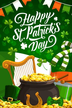 Happy St Patrick Day vector design of Irish holiday green shamrock, leprechaun pot of gold and hat, clover leaves, golden coins and horseshoe, Ireland flag, drum and harp. Greeting card Archivio Fotografico - 138160618
