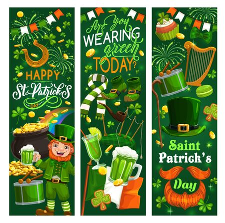 Irish leprechaun with Patricks Day green beer, shamrock and hat with gold vector banners. Clover leaves, golden coins pot and lucky horseshoe, flag of Ireland, celtic elf treasure cauldron on rainbow Archivio Fotografico - 138161002
