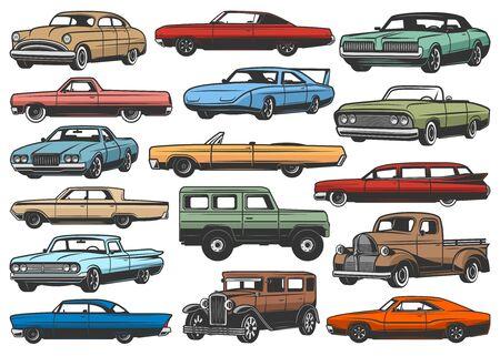 Les voitures rétro et les véhicules de rareté vintage ont isolé des modèles vectoriels. Automobiles, cabriolet avec toit rétractable et limousine, camionnette et multisegment, voiture de sport et berline, hayon