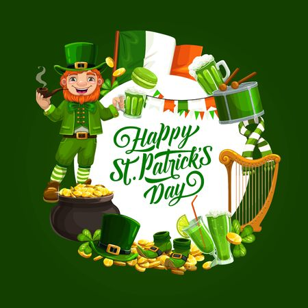 Happy Saint Patricks day holiday symbols round frame. Vector flag of Ireland, mug of ale beer, drum and drumsticks, leprechauns scarf and boots. Pot of gold, smoking gnome and cookies Archivio Fotografico - 138161058
