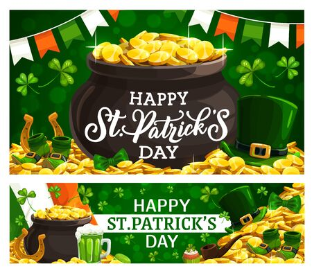 Happy Saint Patricks day, Irish holiday poster with leprechaun gold coins in cauldron on green shamrock background. Vector Ireland flags, cupcake and golden horseshoe with leprechaun hat