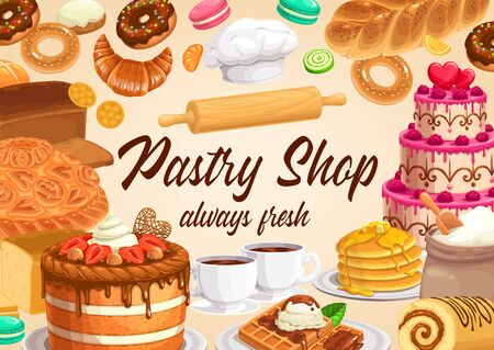 Pastry and bakery shop cakes and desserts vector design of sweet food. Cupcakes, candies and chocolate cookies, muffins, bread and pies, cream buns, croissant and bagel, waffle and pancakes, cafe menu
