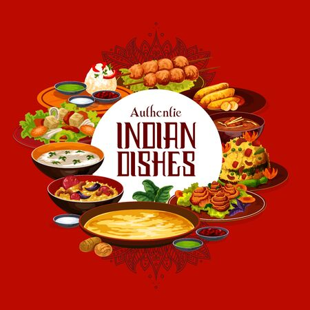 Indian restaurant menu cover, traditional authentic cuisine food. Vector Indian meal dishes, vegetarian pulao, lemon with cashew and rice in mint sauce, lamb meat skewers and shorba soup