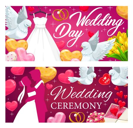 Wedding banners with vector bride and groom, hearts, rings and flowers. Wedding gifts and cake, bridal dress and bouquet, love letter, balloons and couple of dove birds, marriage ceremony