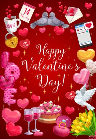 Valentine day heart balloons, golden key and love lock with sparling stars. Vector Happy Valentine day calligraphy greeting in tulip flowers, birds with love message and 14 February holiday calendar