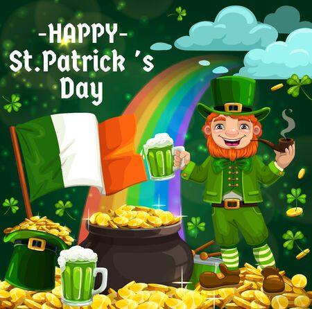 Irish leprechaun with Patrick Day green ale beer and shamrock. Vector hat with gold, cauldron of treasure golden coins on rainbow and smoking pipe, flag of Ireland and drum cartoon objects Ilustrace