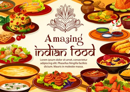 Indian restaurant menu cover, national cuisine food dishes. Vector breakfast, dinner and lunch meals, vegetables and spicy meat with curry rice, tandoori and masala plates