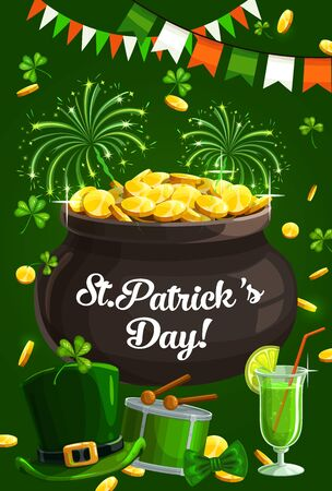 St. Patricks day lettering and pot full of golden coins. Vector Irish national holiday symbols, fireworks and rain of money, leprechauns hat. Drum with drumsticks, garlands in color of Irish flag Archivio Fotografico - 138161563