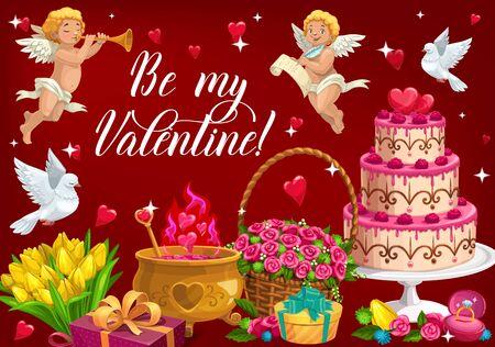 Soyez mon lettrage de la Saint-Valentin et symboles de l'amour. Image vectorielle vacances du 14 février, cupidons avec trompette et rouleaux, chaudron avec élixir d'amour. Panier avec fleurs roses, bouquet de tulipes et colombe volante