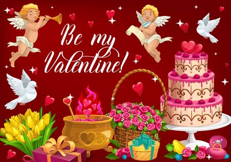 Be my Valentine lettering and symbols of love. Vector February 14 holiday, cupids with trumpet and scrolls, cauldron with elixir of love. Basket with rose flowers, bouquet of tulips and flying dove