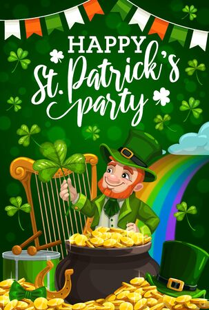 Patricks day party vector invitation with leprechaun, green shamrock and pot of gold. Irish holiday clover leaves, golden coins and horseshoe, celtic elf with red beard, rainbow and Ireland flag