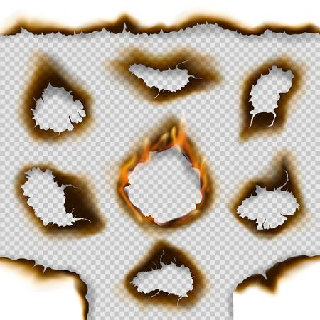 Burnt paper holes and scorched page edges 3d vector design with realistic fire flames on transparent background. Damaged and torn paper pieces or parchment with ash and cracks on borders Stock Illustratie