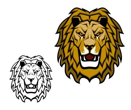 Mascotte testa di leone. Re di animali, safari africano, club sportivo o simbolo vettoriale araldico. Il gatto selvatico della savana ruggisce mostrando denti, zanne e criniera marrone. Mascotte di sport del fumetto isolato