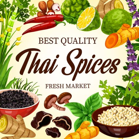 Thai cooking spices, herbs and Asian cuisine herbal seasonings, farm market poster. Thai food flavorings, lemongrass and green peppercorn, basil and parsley herbs, chili pepper, curry and garlic spice