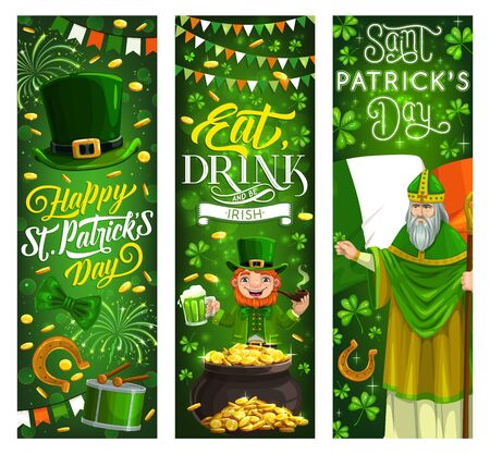 Happy Saint Patrick Day, Irish party holiday vector banners, Ireland flags and shamrock clover leaves. St Patrick Paddy man with cane stick, leprechaun smoking pipe near gold coins pot cauldron