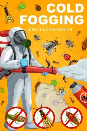 Zamgławianie na zimno owadów i błędów, projekt wektora zwalczania szkodników. Tępiciel z pestycydem w sprayu i opryskiwaczem, komar, karaluch i mrówka, mucha, pchła, roztocz lub kleszcz, konik polny, osa, chrząszcz ziemniaczany