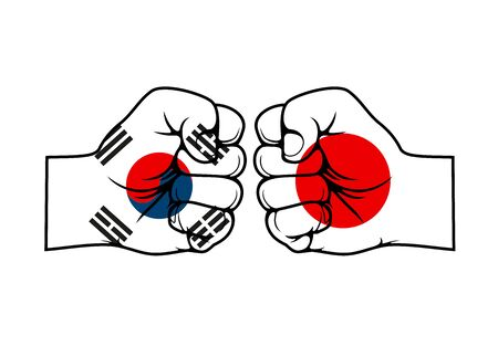Japan and South Korea, two clenched fists facing each other. Trade war and economic conflict between two asian countries, national flags on fist 向量圖像
