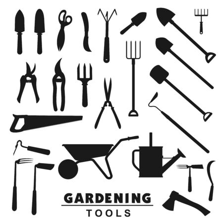 Garden and farming tools silhouette icons, rake and farm fork, gardener equipment. Vector soil cultivating and gardening trowel, tree secateurs, saw and watering can, pitchfork and wheelbarrow 일러스트
