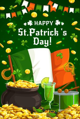Patricks Day Irish holiday leprechaun gold pot and shamrock vector greeting card. Green beer, flag of Ireland and clover leaves, lucky horseshoe, celtic elf shoes and drum, crosier, golden coins Archivio Fotografico - 138165352