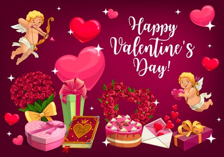 Happy Valentines day poster of cupids with golden bow arrows and hearts. Vector Valentine day I love You quote on cake, rose flowers and love message letter in envelope