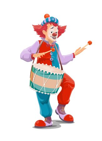 Circus clown playing drum, vector character of carnival comedy show. Joker or comic man cartoon character with funny hat, red wig and fake nose, makeup, giant clown shoes and drum sticks Illustration