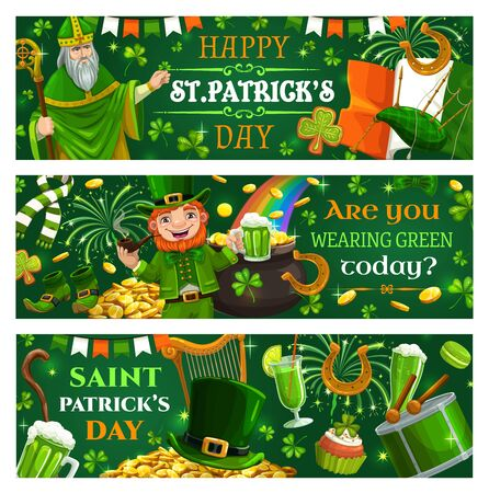 Leprechaun wearing green suit wishing happy St. Patricks day. Vector Irish spring holiday leaflets with Saint Patrick, lettering and fest symbols. Food and drinks, drum and stick, mug of beer