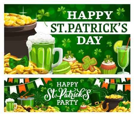 Happy Patricks day invitation to party on green. Vector pot of gold coins, mug of green ale beer, cocktail with straw, gingerbread cookies, shamrock. Leprechauns smoking pipe, hat and bow, drum