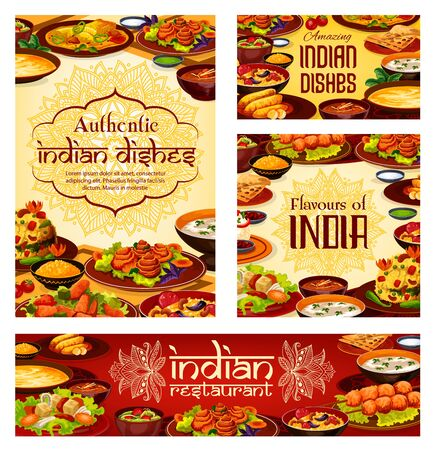 Indian cuisine food menu, authentic taste dishes and desserts. Vector Indian traditional lunch and dinner meals vegetables, meat and curry rice, soups and vegetarian salads in masala spices