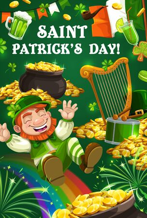 Happy Saint Patrick day poster, Irish holiday celebration party. Vector Ireland flags of Saint Patrick day, leprechaun with gold coins pot and rainbow, shamrock clover leaf and beer pint mug